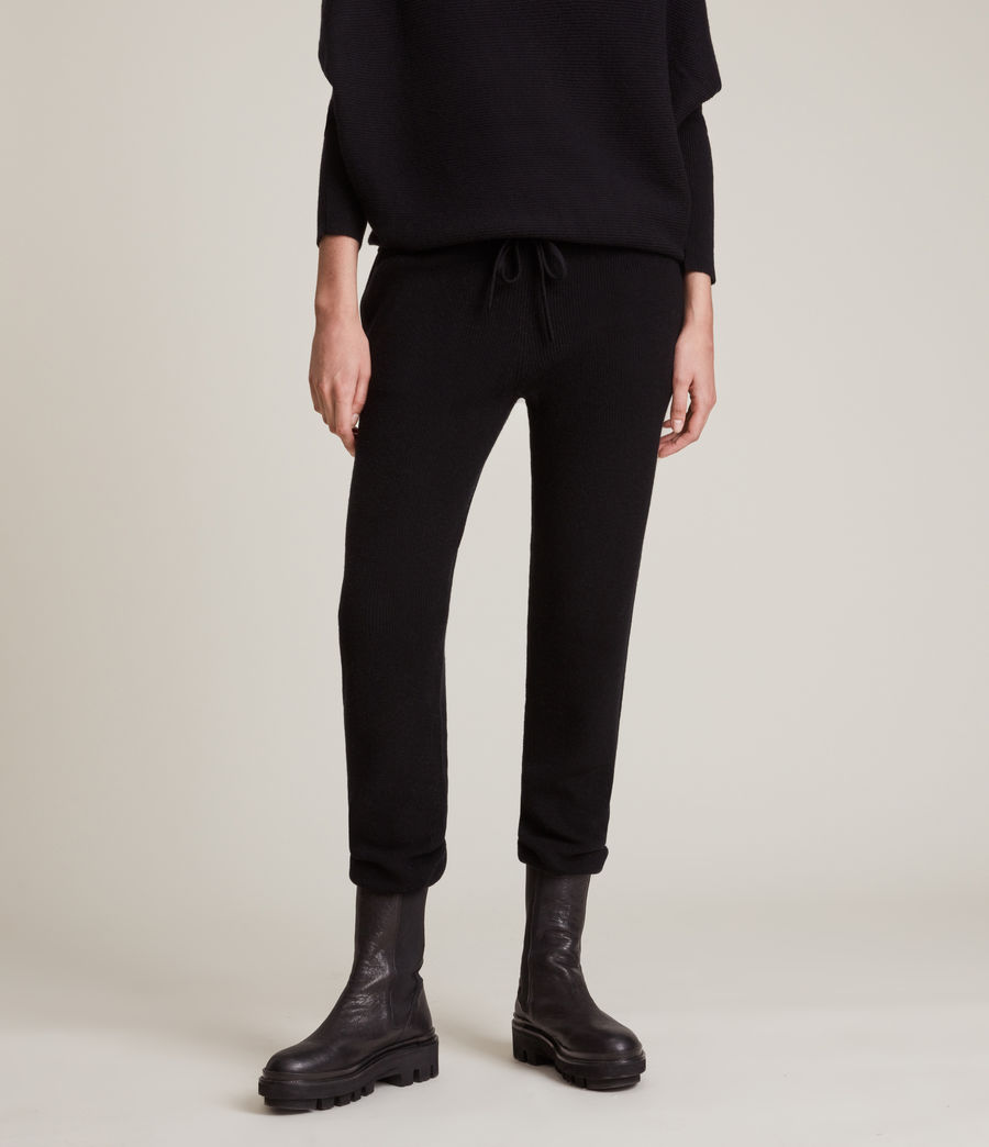 Women's Ridley Wool Cashmere Blend Joggers (black) - Image 2