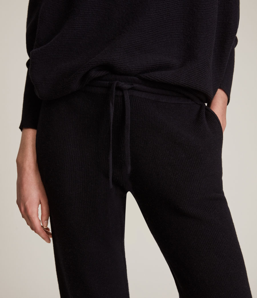 Women's Ridley Wool Cashmere Blend Joggers (black) - Image 3