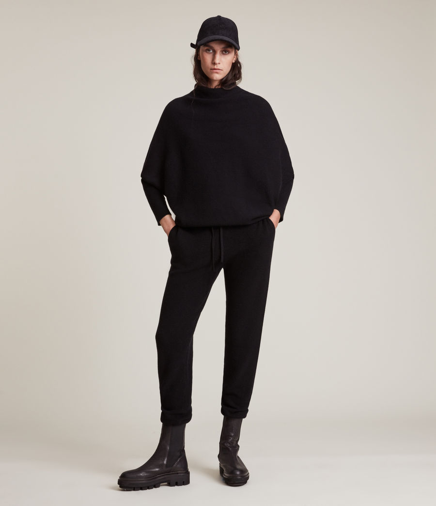 Women's Ridley Wool Cashmere Blend Joggers (black) - Image 4