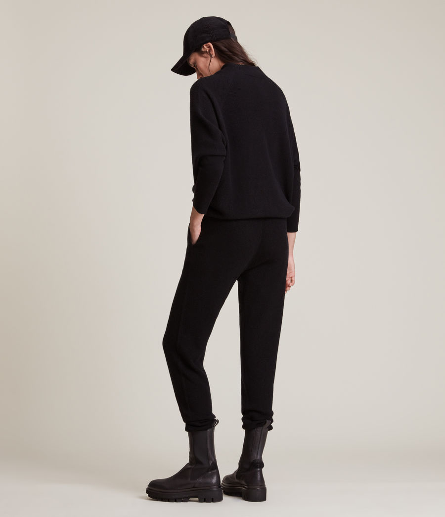 Women's Ridley Wool Cashmere Blend Joggers (black) - Image 5