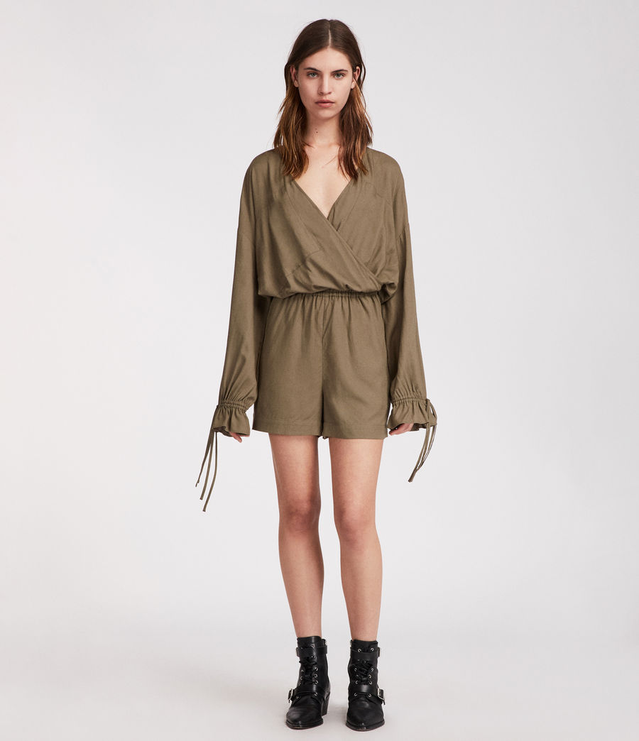 Women's Penny Playsuit (khaki_green) - Image 1