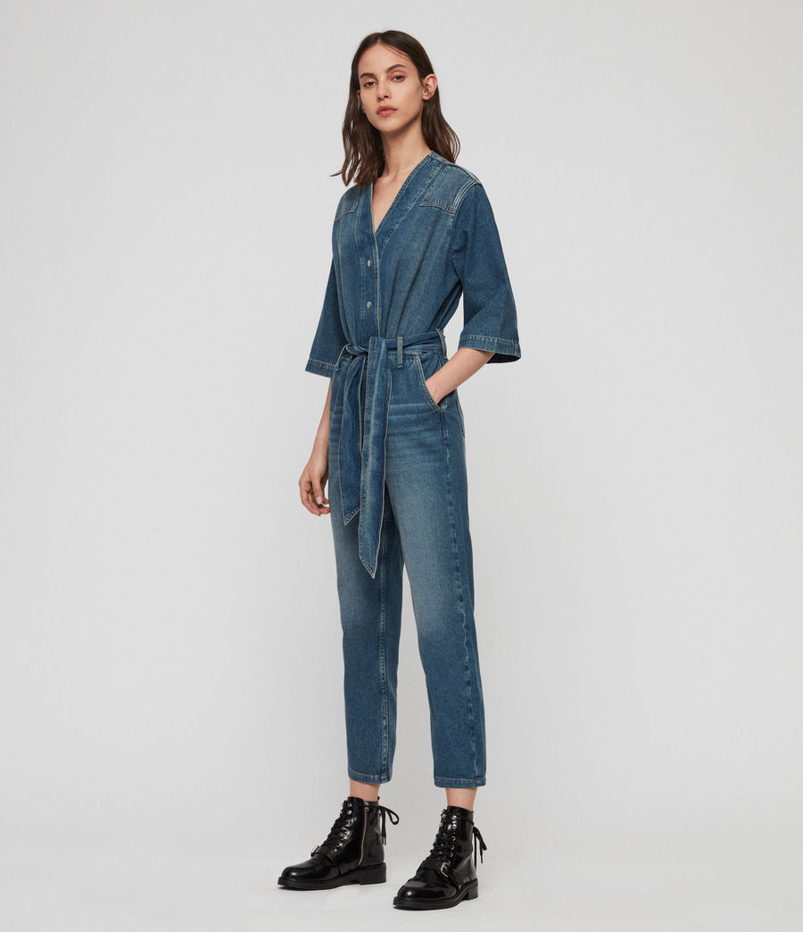 Women's Utility Denim Jumpsuit (washed_indigo) - Image 3