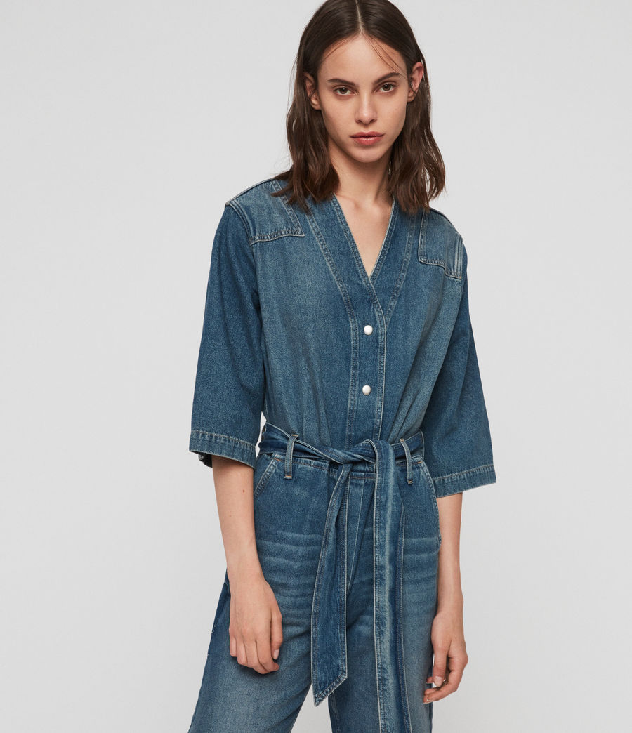 Women's Utility Denim Jumpsuit (washed_indigo) - Image 4