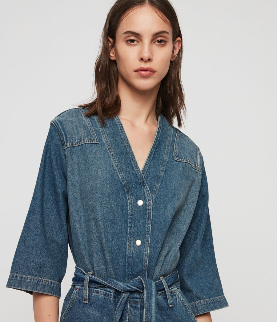 Women's Utility Denim Jumpsuit (washed_indigo) - Image 5