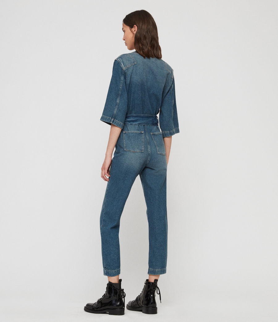 Women's Utility Denim Jumpsuit (washed_indigo) - Image 6
