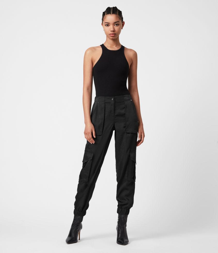 Femmes Pantalon Cargo Frieda (black) - Image 7