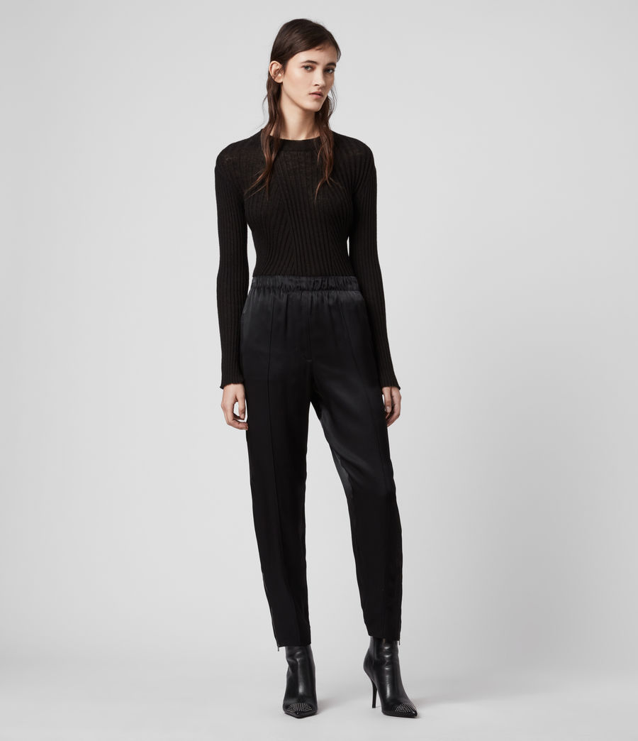 Women's Liana Mid-Rise Trousers (black) - Image 1
