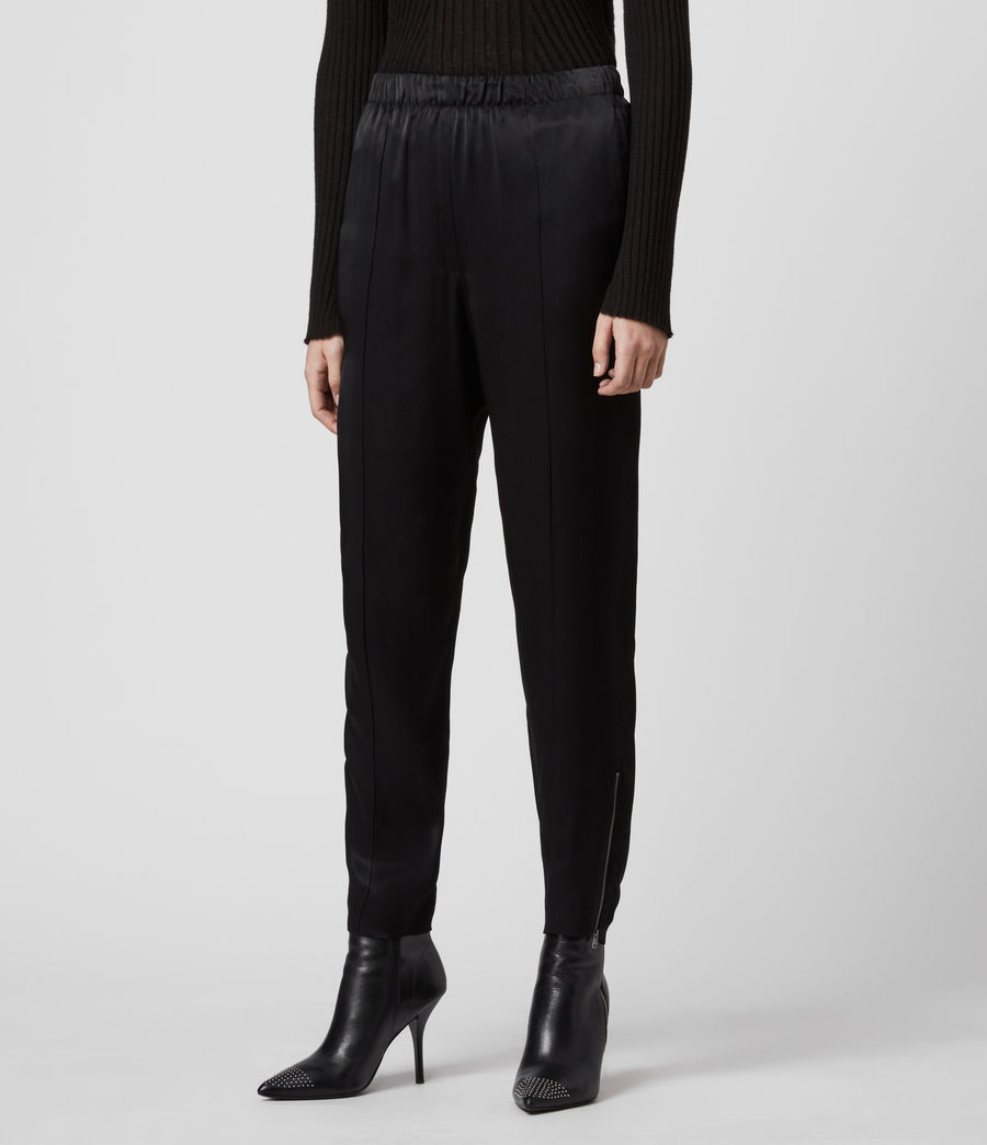 Women's Liana Mid-Rise Trousers (black) - Image 4