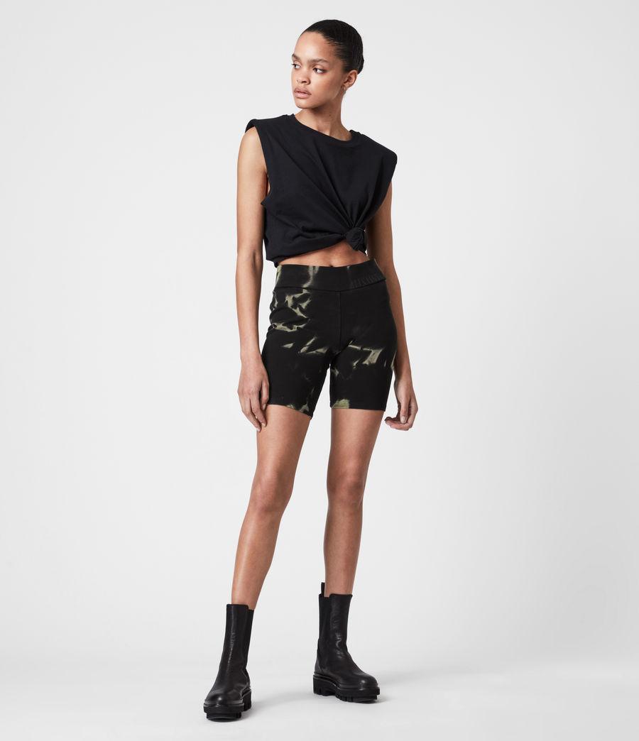 Damen Jamie Tie Dye Bike Shorts (black_khaki_green) - Image 7