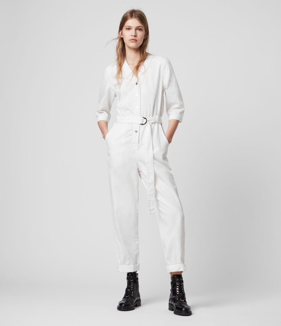 Women's Lora Denim Jumpsuit (chalk_white) - Image 1