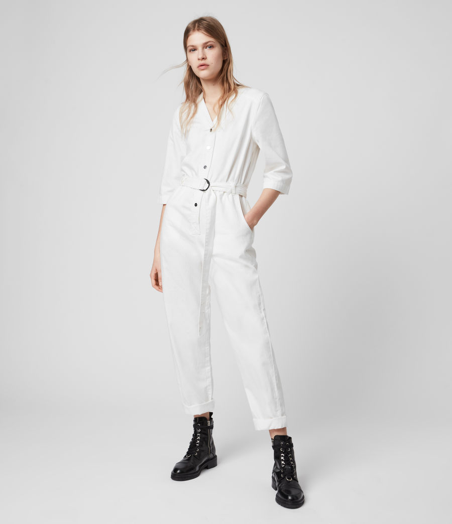 Women's Lora Denim Jumpsuit (chalk_white) - Image 4