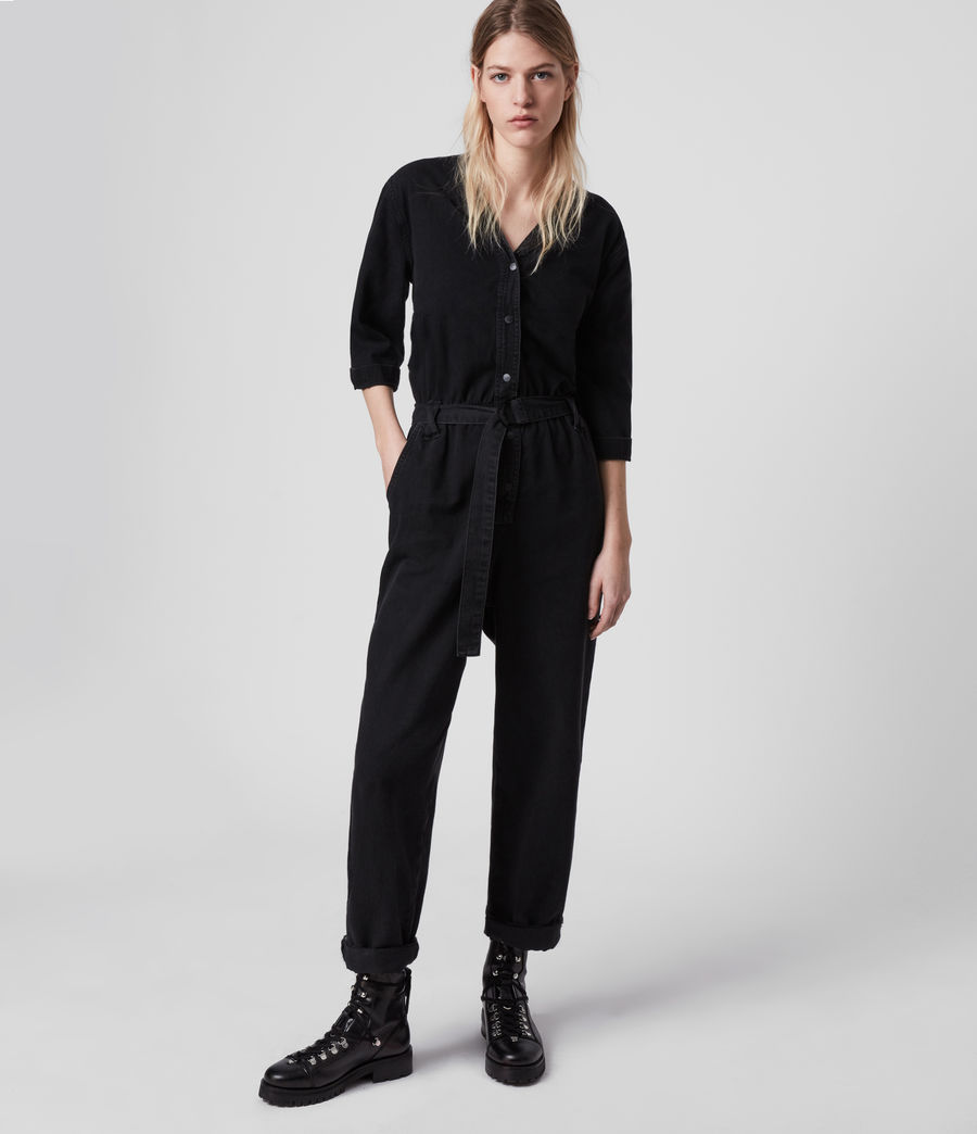 Women's Lora Denim Jumpsuit (black) - Image 1