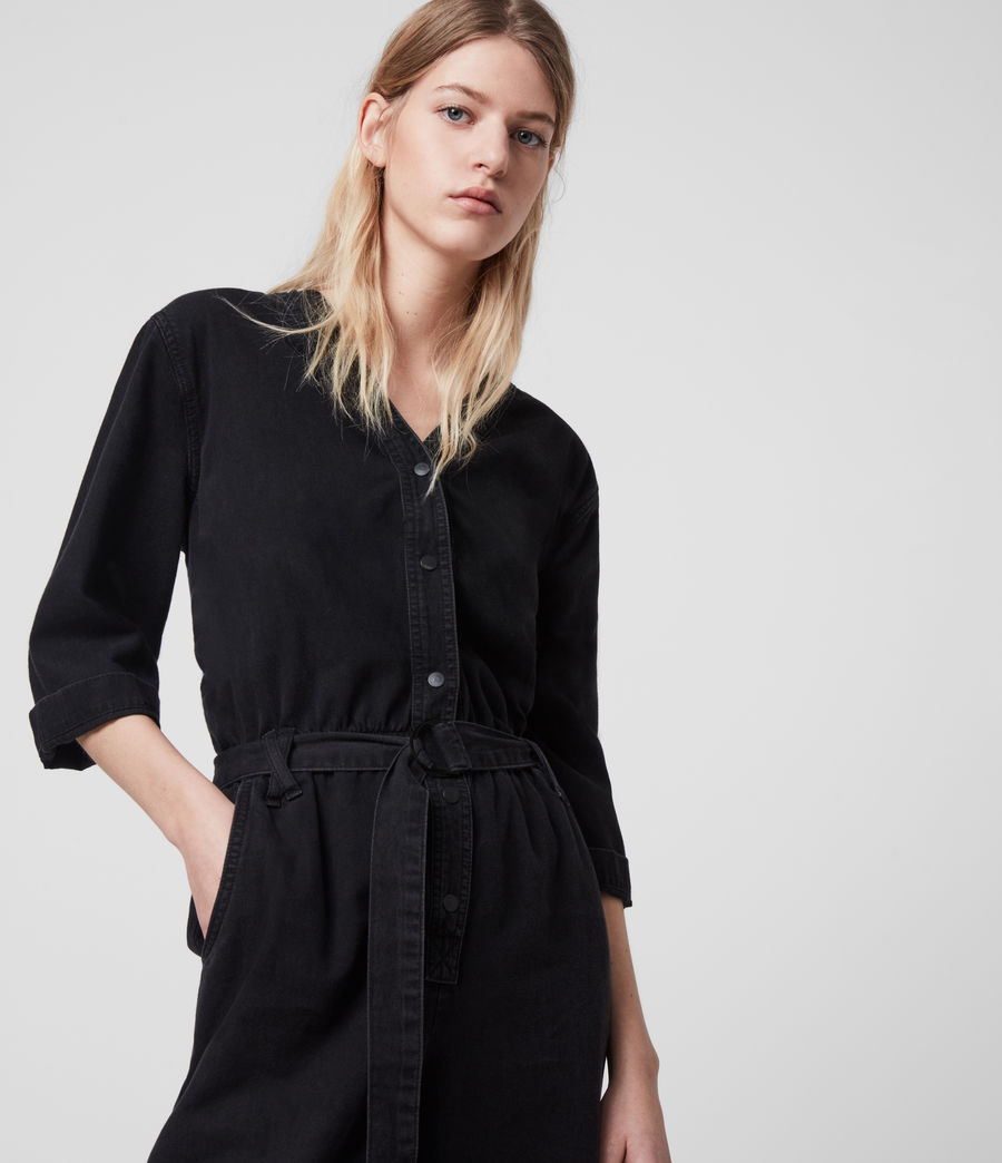 Women's Lora Denim Jumpsuit (black) - Image 2