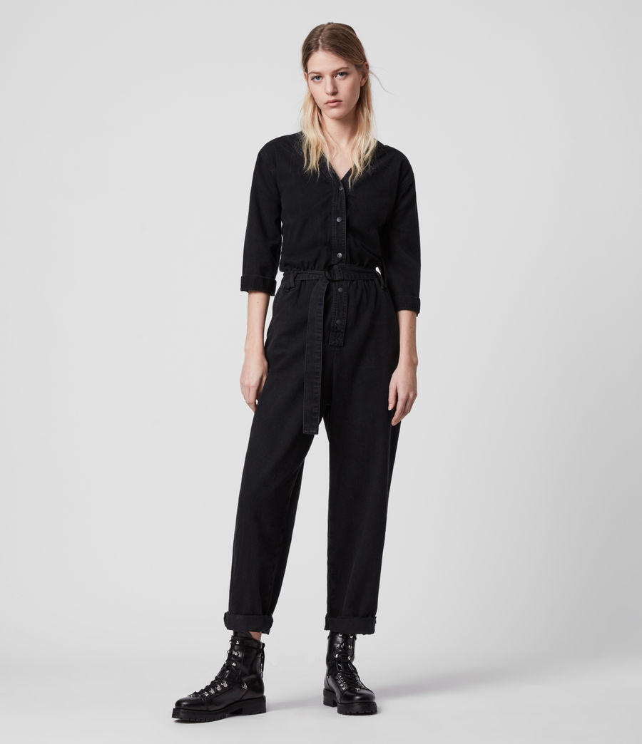 Women's Lora Denim Jumpsuit (black) - Image 3