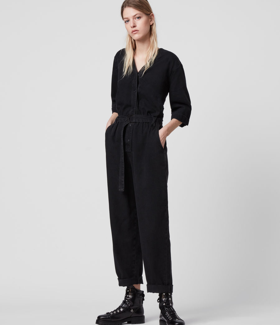 Women's Lora Denim Jumpsuit (black) - Image 4