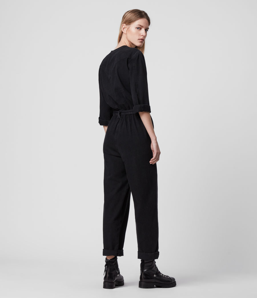 Women's Lora Denim Jumpsuit (black) - Image 5