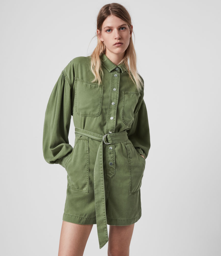 Womens Jess Denim Playsuit (khaki_green) - Image 1
