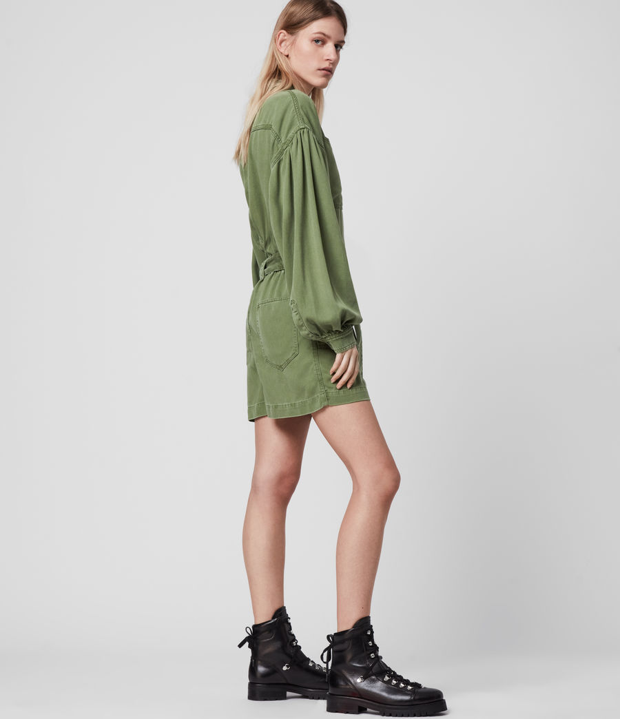 Womens Jess Denim Playsuit (khaki_green) - Image 3