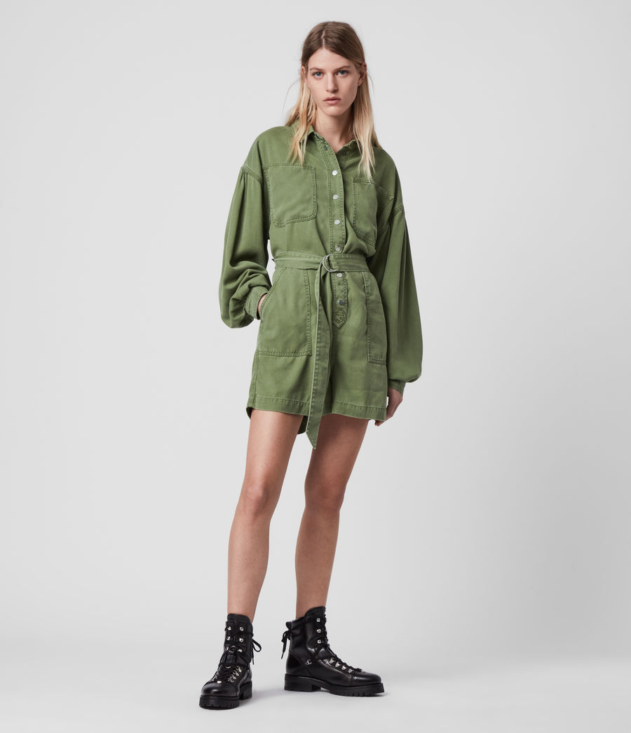 Womens Jess Denim Playsuit (khaki_green) - Image 4