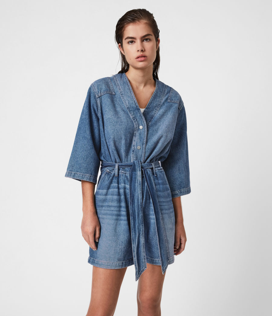 Womens Abbey Denim Romper (indigo_blue) - Image 1
