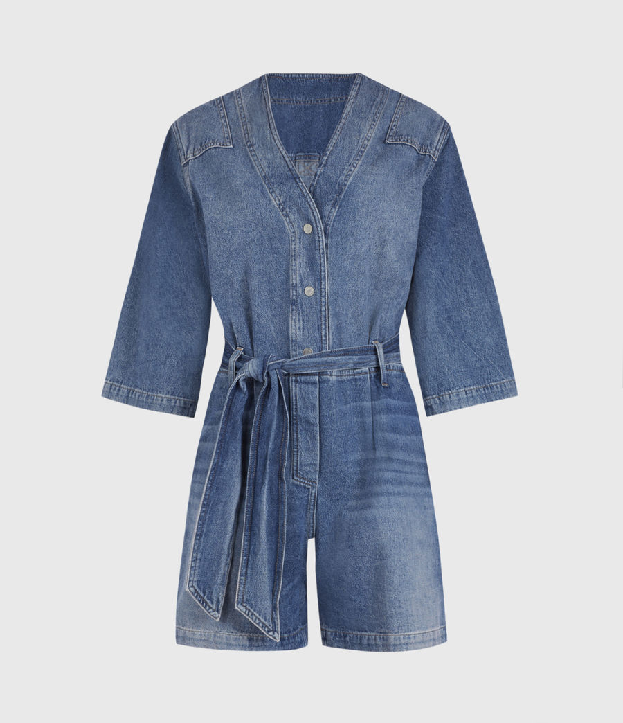 Womens Abbey Denim Romper (indigo_blue) - Image 2