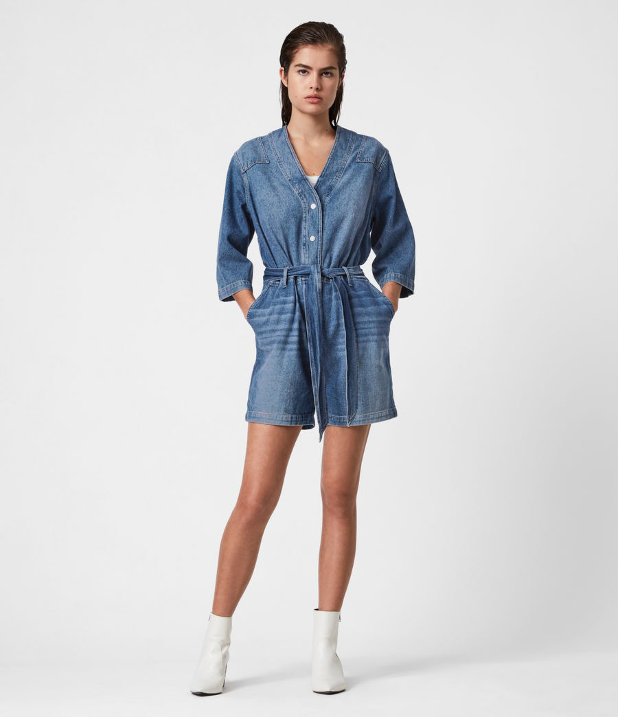 Womens Abbey Denim Romper (indigo_blue) - Image 4