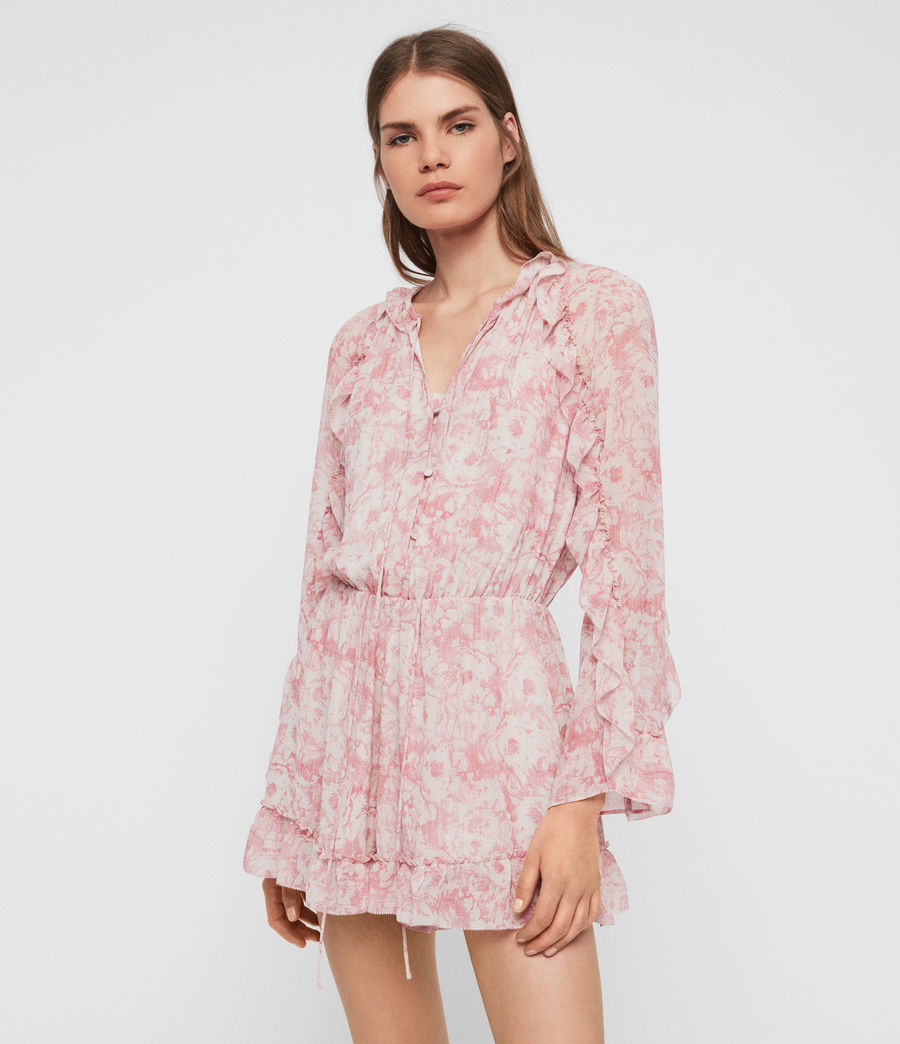Womens Flora Rosa Playsuit (pink) - Image 1