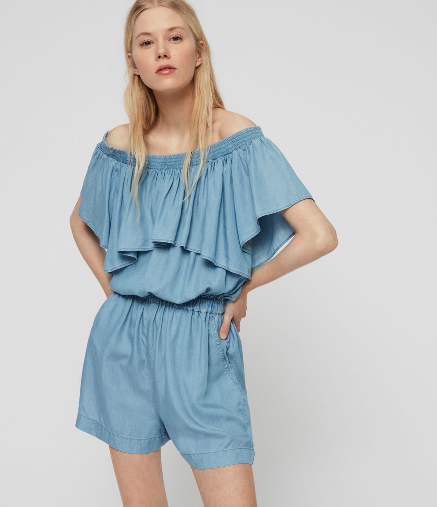 Women's Sacha Tencel Playsuit (bleach_indigo_blue) - Image 1