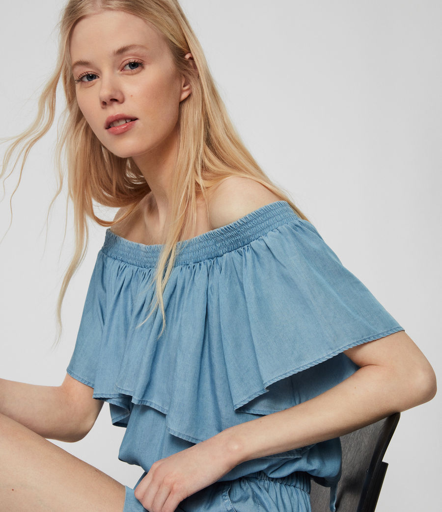Women's Sacha Tencel Playsuit (bleach_indigo_blue) - Image 3
