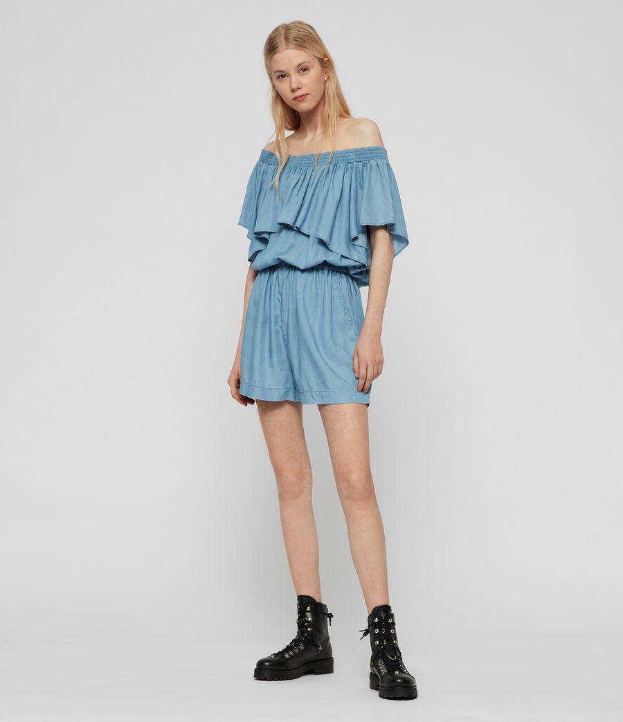 Women's Sacha Tencel Playsuit (bleach_indigo_blue) - Image 6