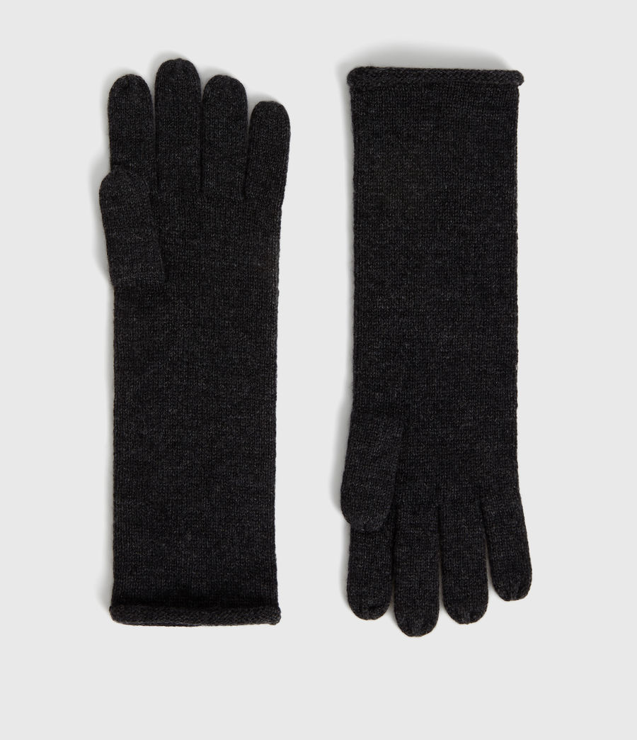 Womens Self Rolled Edge Cashmere Blend Gloves (charcoal) - Image 1