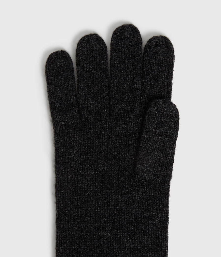 Womens Self Rolled Edge Cashmere Blend Gloves (charcoal) - Image 2