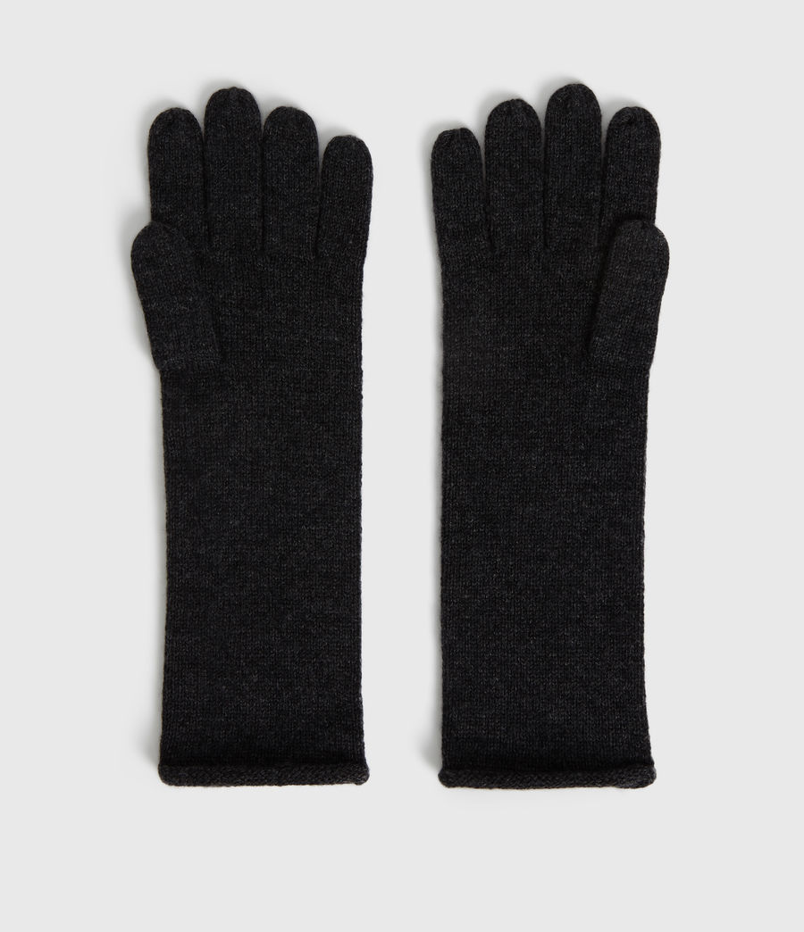 Womens Self Rolled Edge Cashmere Blend Gloves (charcoal) - Image 3