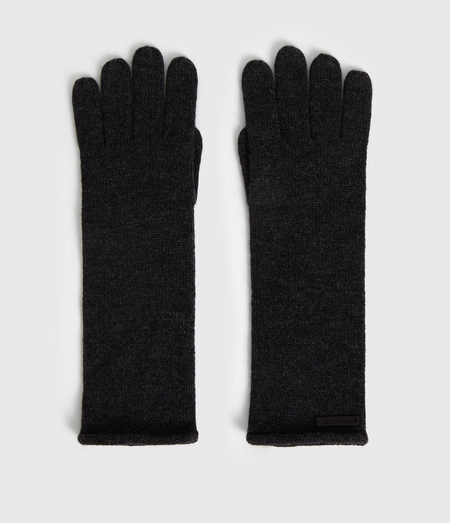 Womens Self Rolled Edge Cashmere Blend Gloves (charcoal) - Image 4