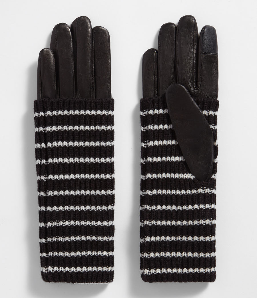 Donne Stripe Knit Cuff Leather Gloves (black) - Image 1