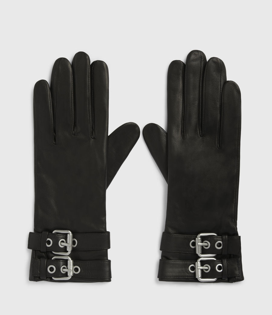 Womens Oren Leather Zip Gloves (black_dull_nickel) - Image 1
