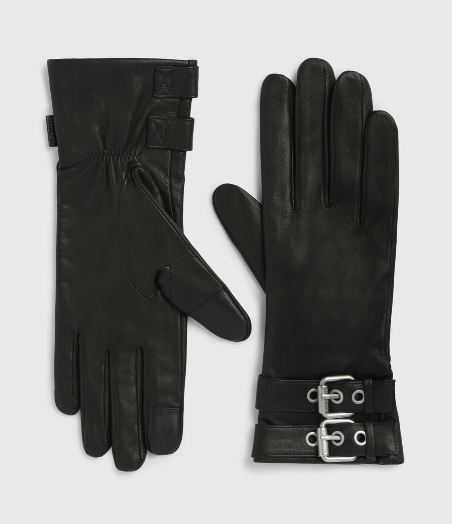 Womens Oren Leather Zip Gloves (black_dull_nickel) - Image 2