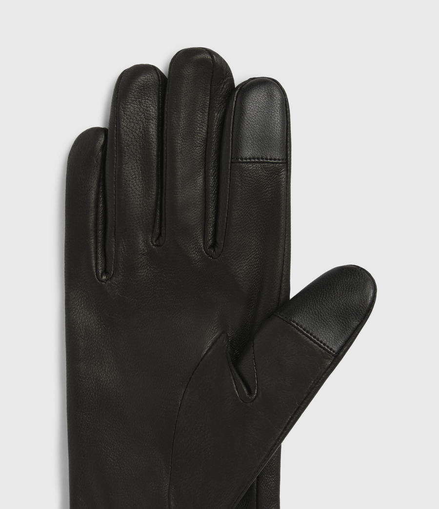 Womens Oren Leather Zip Gloves (black_dull_nickel) - Image 3