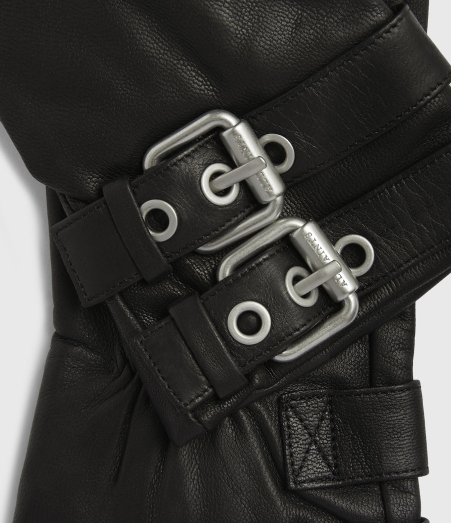 Womens Oren Leather Zip Gloves (black_dull_nickel) - Image 4