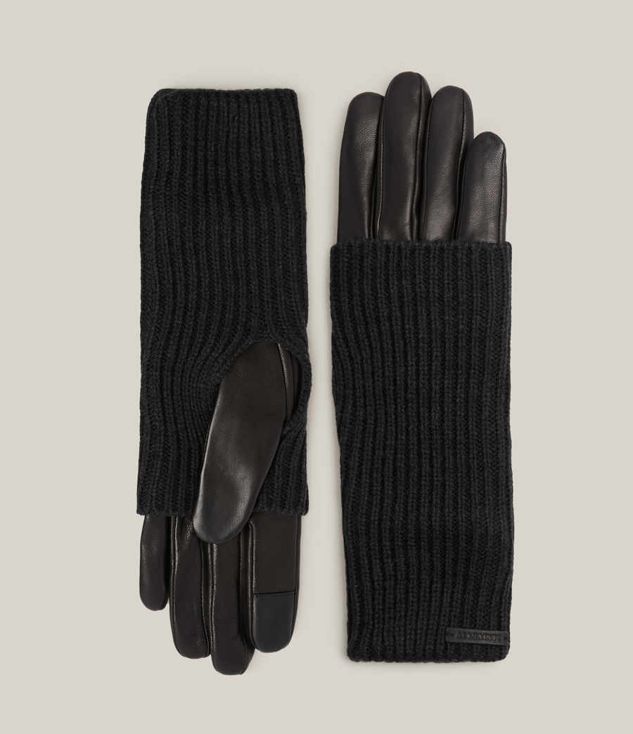 Women's Knit Cuff Leather Gloves (black) - Image 1
