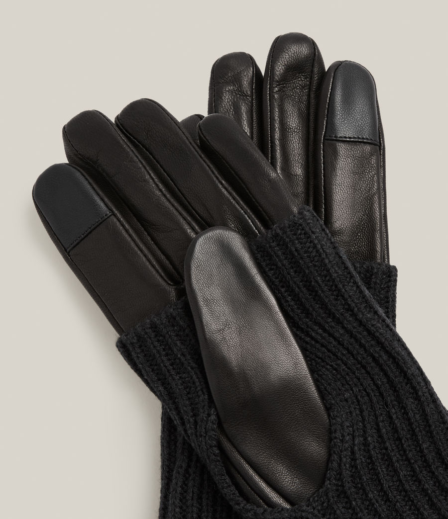Women's Knit Cuff Leather Gloves (black) - Image 3