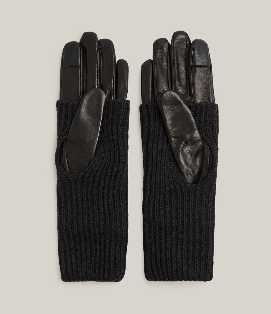 Women's Knit Cuff Leather Gloves (black) - Image 4