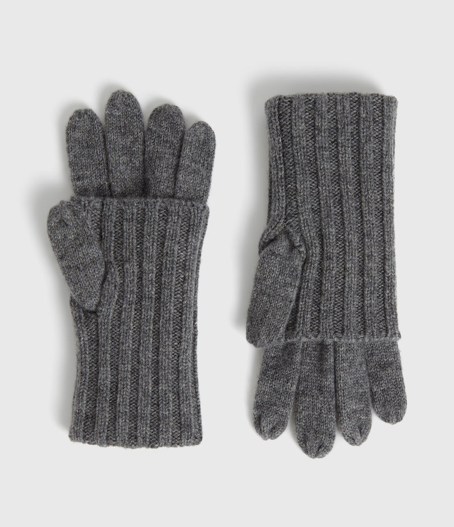 Womens Solid Rib Wool Gloves (grey_marl) - Image 1