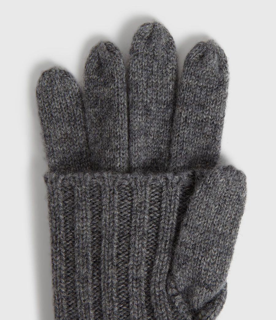 Womens Solid Rib Wool Gloves (black) - Image 2
