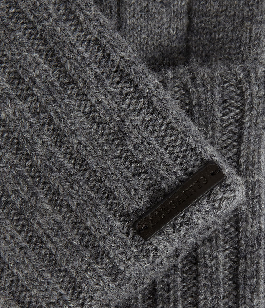 Womens Solid Rib Wool Gloves (grey_marl) - Image 3
