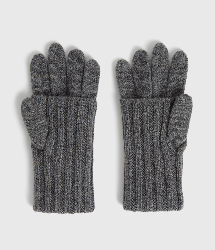 Womens Solid Rib Wool Gloves (black) - Image 4