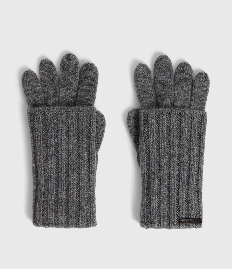 Womens Solid Rib Wool Gloves (black) - Image 5