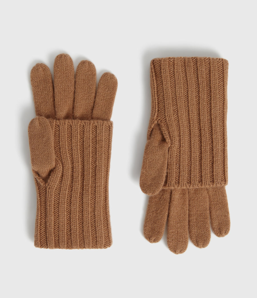 Womens Solid Rib Wool Gloves (toffee_brown) - Image 1