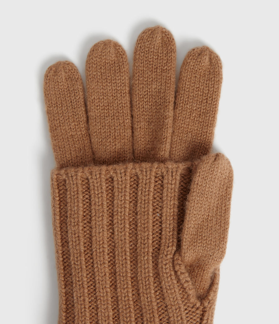 Women's Solid Rib Wool Gloves (toffee_brown) - Image 1