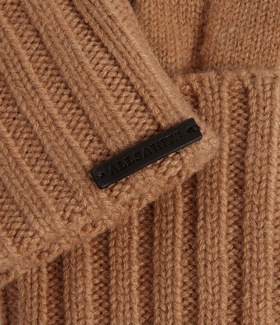 Womens Solid Rib Wool Gloves (toffee_brown) - Image 2